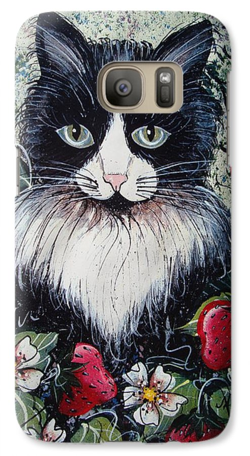 Cat Galaxy S7 Case featuring the painting Strawberry Lover Cat by Natalie Holland