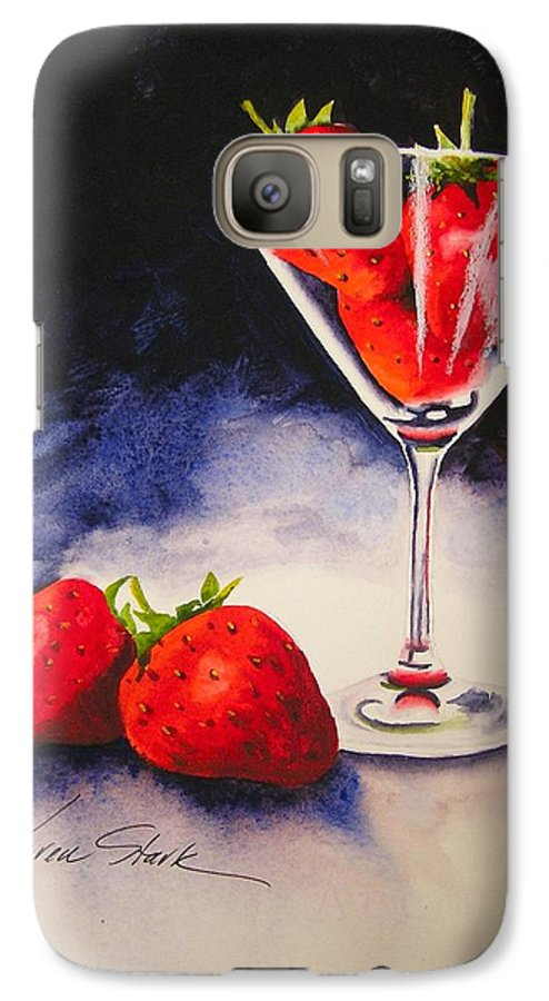 Strawberry Galaxy S7 Case featuring the painting Strawberrytini by Karen Stark