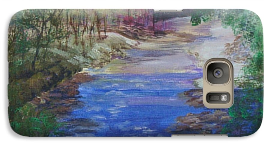 River Galaxy S7 Case featuring the painting Stream At Yosemite by Quwatha Valentine