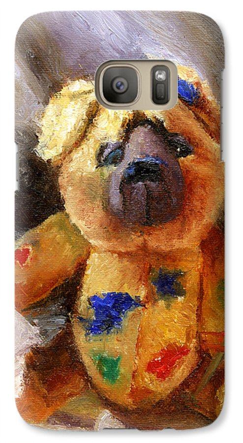 Teddy Bear Art Galaxy S7 Case featuring the painting Stuffed With Luv by Chris Neil Smith