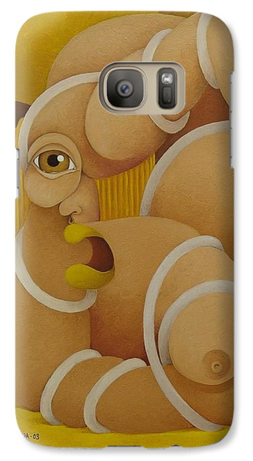 Sacha Galaxy S7 Case featuring the painting Suffering Woman 2003 by S A C H A - Circulism Technique