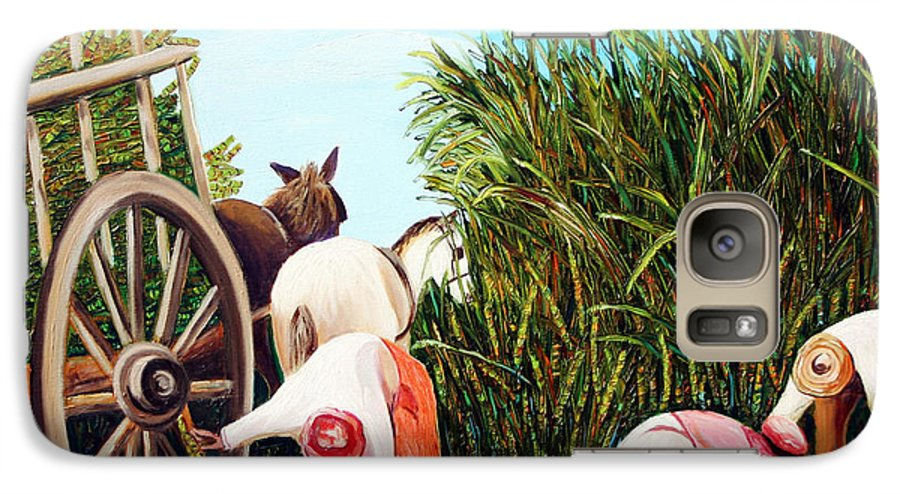 Cuban Art Galaxy S7 Case featuring the painting Sugarcane Worker 1 by Jose Manuel Abraham