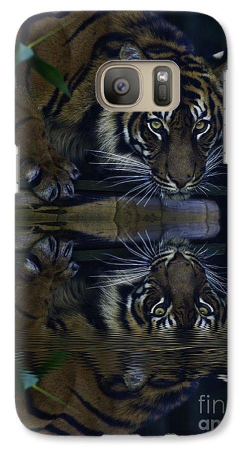 Sumatran Tiger Galaxy S7 Case featuring the photograph Sumatran Tiger Reflection by Avalon Fine Art Photography
