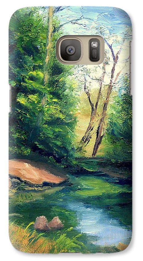 Landscape Galaxy S7 Case featuring the painting Summer At Storm by Gail Kirtz