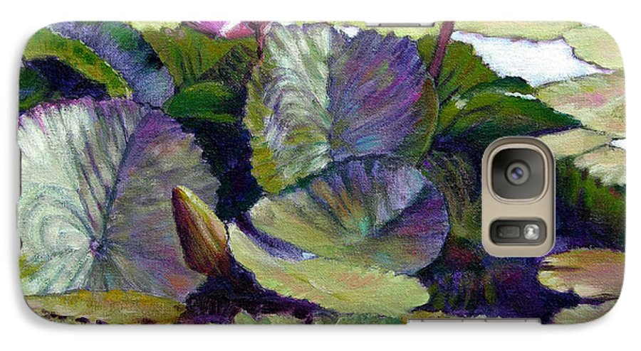 Water Lilies Galaxy S7 Case featuring the painting Summer Breeze by John Lautermilch