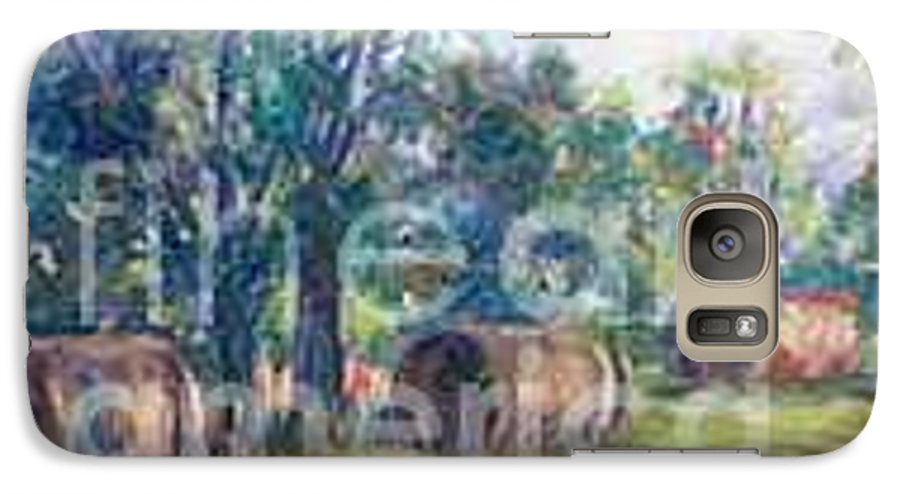Landscape Galaxy S7 Case featuring the painting Summer Idyll by Jan Bennicoff
