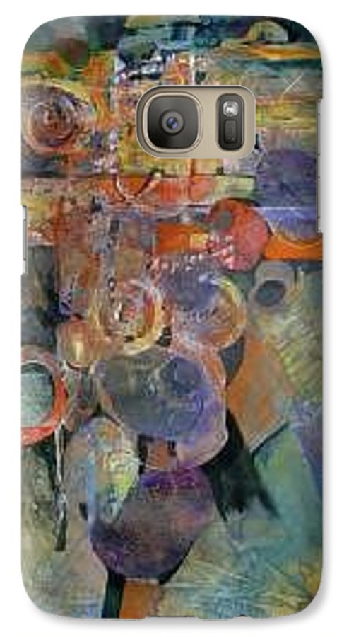 Abstract Shapes Galaxy S7 Case featuring the painting Summer Night City Uneartherd by Marlene Gremillion