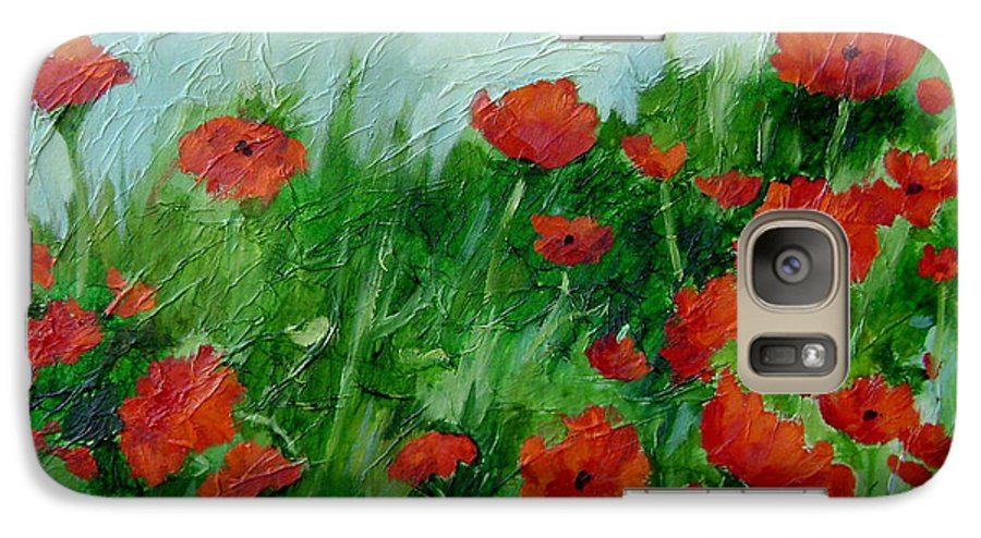Red Poppies Galaxy S7 Case featuring the painting Summer Poppies by Ginger Concepcion