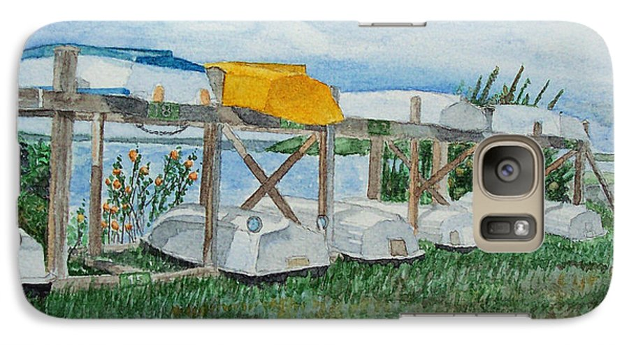 Rowboats Galaxy S7 Case featuring the painting Summer Row Boats by Dominic White