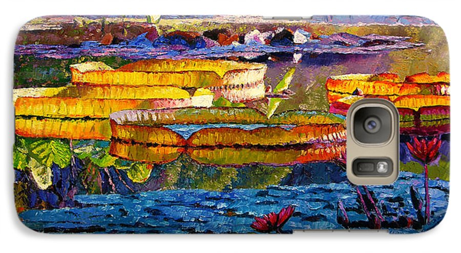 Water Lilies Galaxy S7 Case featuring the painting Sun Color And Paint by John Lautermilch