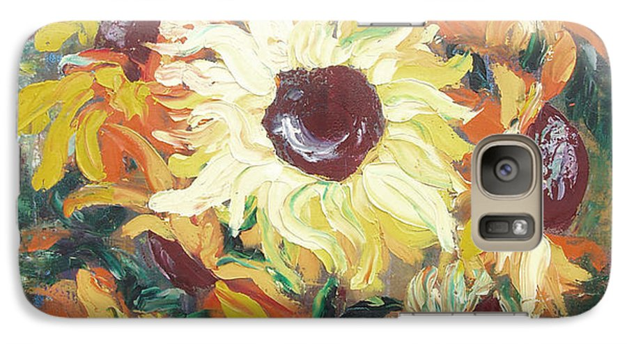 Sunflowers Galaxy S7 Case featuring the painting Sun In A Vase by Gina De Gorna