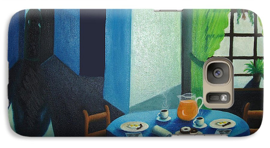 Breakfast Galaxy S7 Case featuring the painting Sunday Morning Breakfast by Nancy Mueller