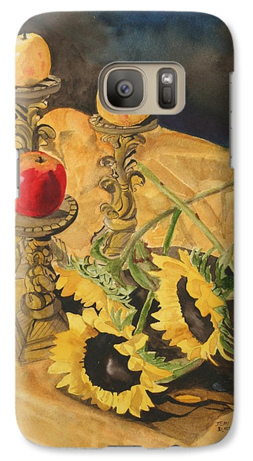 Still Life Galaxy S7 Case featuring the painting Sunflowers And Apples by Jean Blackmer