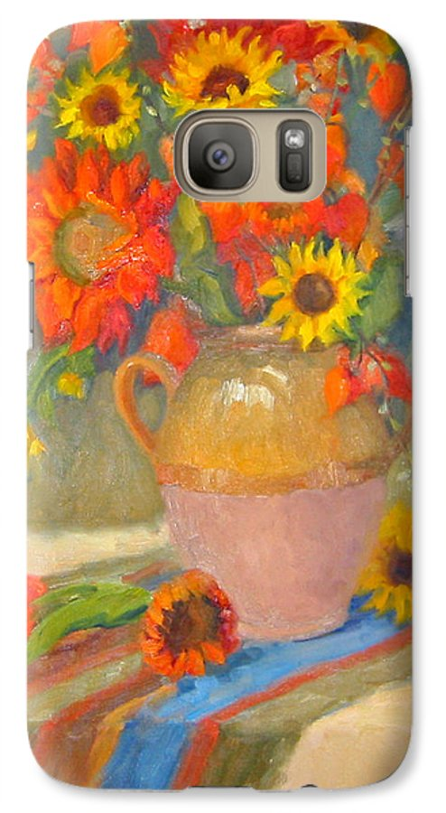 Sunflowers Galaxy S7 Case featuring the painting Sunflowers And More by Bunny Oliver