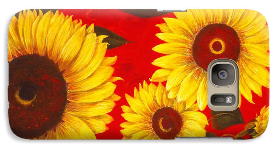 Flowers Galaxy S7 Case featuring the painting Sunflowers IIi by Mary Erbert