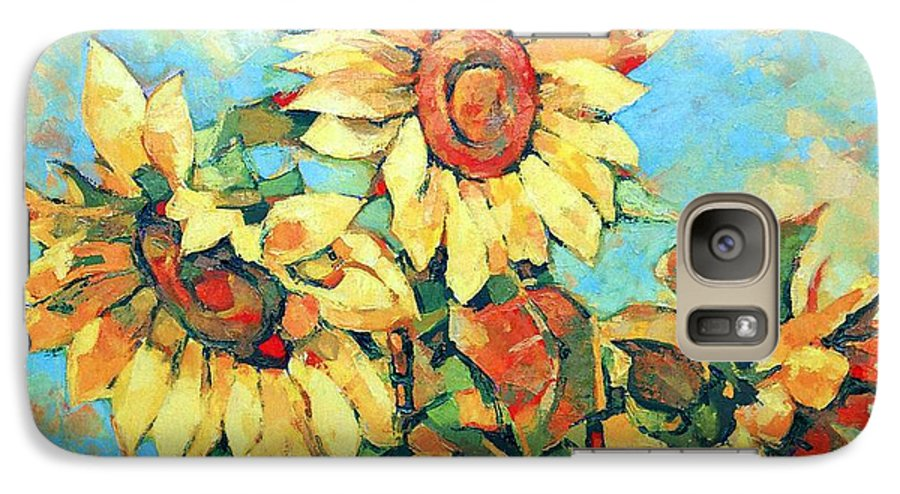 Sunflowers Galaxy S7 Case featuring the painting Sunflowers by Iliyan Bozhanov