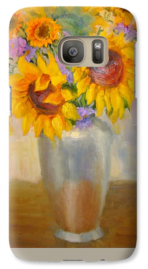 Sunflowers Galaxy S7 Case featuring the painting Sunflowers In A Silver Vase by Bunny Oliver