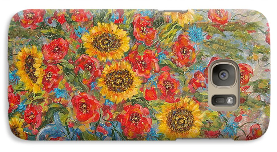 Flowers Galaxy S7 Case featuring the painting Sunflowers In Blue Pitcher. by Leonard Holland