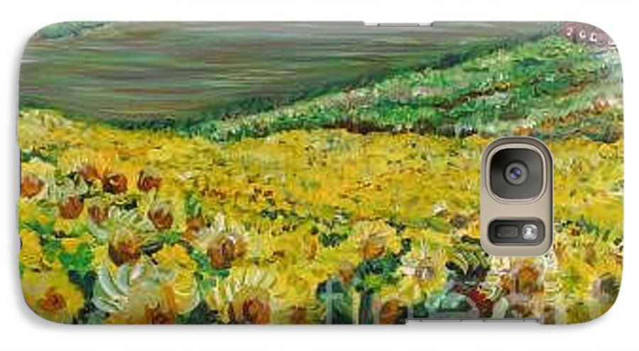 A Field Of Yellow Sunflowers Galaxy S7 Case featuring the painting Sunflowers In Provence by Nadine Rippelmeyer