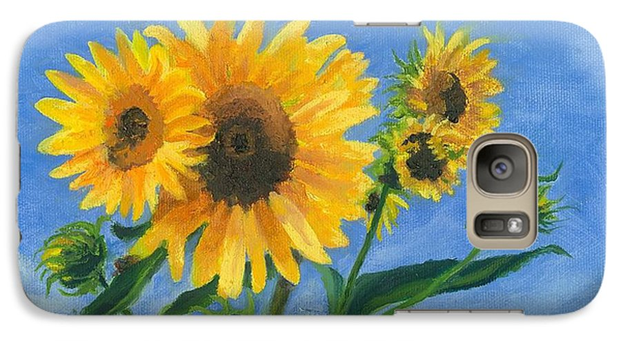 Flowers Galaxy S7 Case featuring the painting Sunflowers On Bauer Farm by Paula Emery