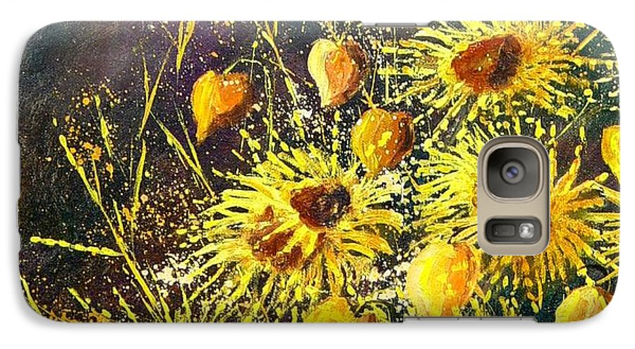 Flowers Galaxy S7 Case featuring the painting Sunflowers by Pol Ledent
