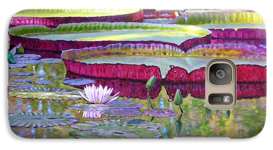 Lily Pond Galaxy S7 Case featuring the painting Sunlight On Lily Pads by John Lautermilch