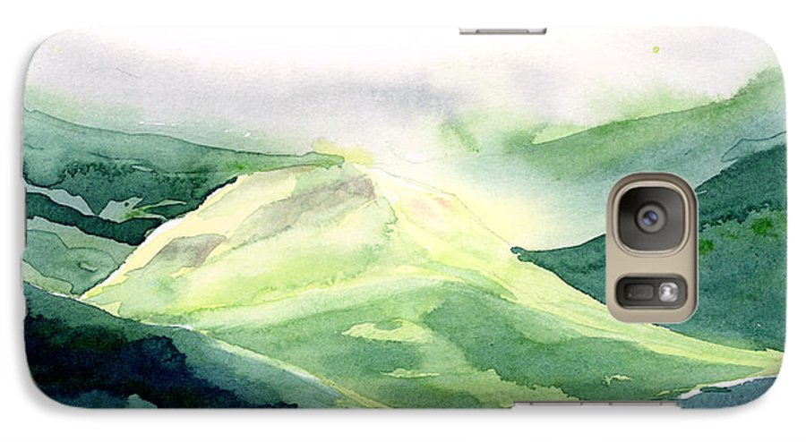 Landscape Galaxy S7 Case featuring the painting Sunlit Mountain by Anil Nene