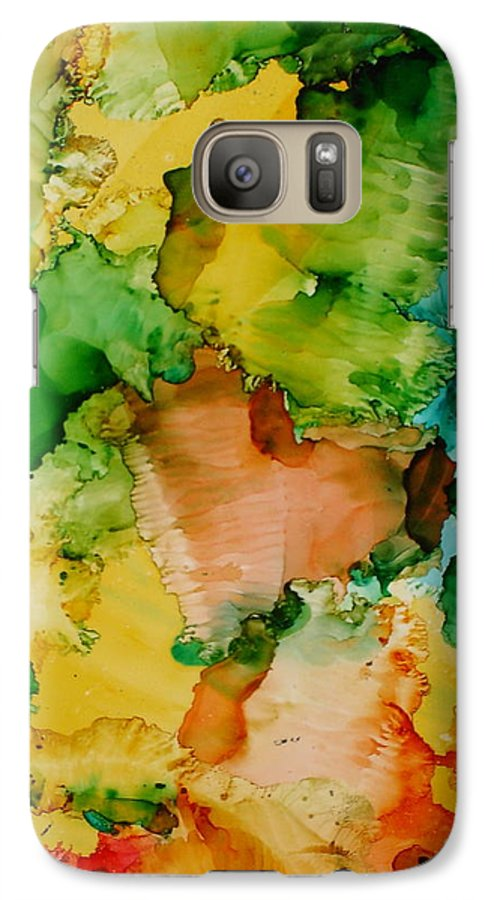 Abstract Galaxy S7 Case featuring the painting Sunlit Reef by Susan Kubes