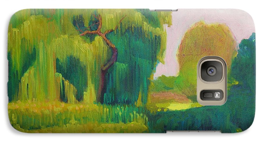 Landscape Galaxy S7 Case featuring the painting Sunny Day Indian Boundary Park by David Dozier
