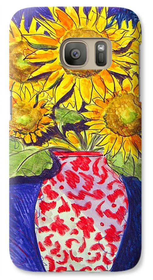 Sunflower Galaxy S7 Case featuring the painting Sunny Disposition by Jean Blackmer