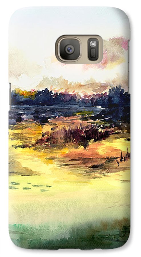 Landscape Water Color Sky Sunrise Water Watercolor Digital Mixed Media Galaxy S7 Case featuring the painting Sunrise by Anil Nene
