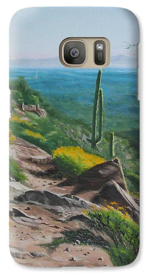 Landscape Galaxy S7 Case featuring the painting Sunrise Trail by Lea Novak