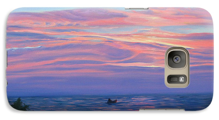 Seascape Galaxy S7 Case featuring the painting Sunset Bay by Lea Novak
