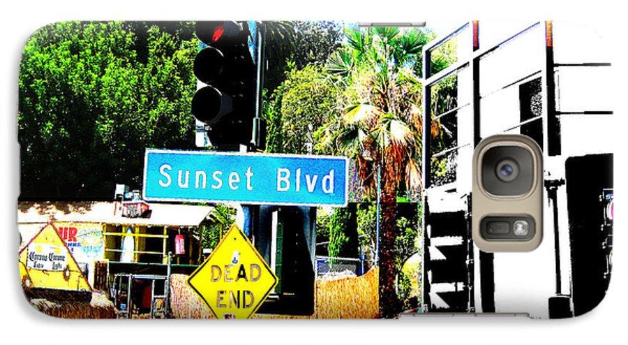 Stoplight On Sunset Blvd Galaxy S7 Case featuring the digital art Sunset Blvd by Maria Kobalyan
