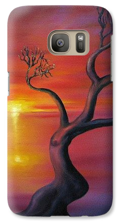 Landscape Galaxy S7 Case featuring the painting Sunset Dance Fantasy Oil Painting by Natalja Picugina