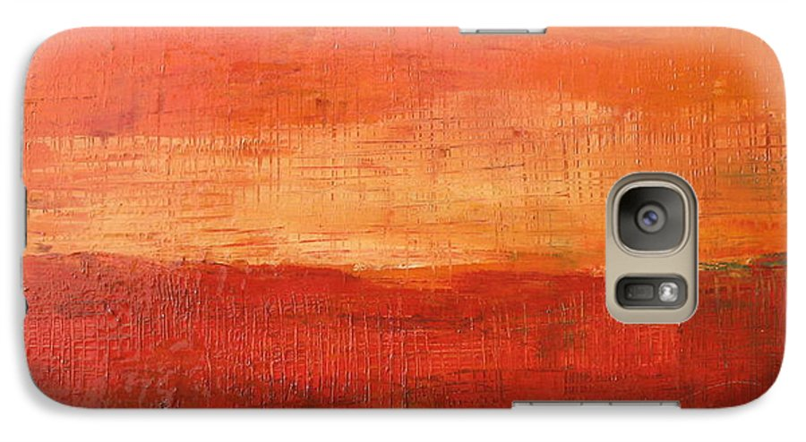 Abstract Galaxy S7 Case featuring the painting Sunset by Habib Ayat