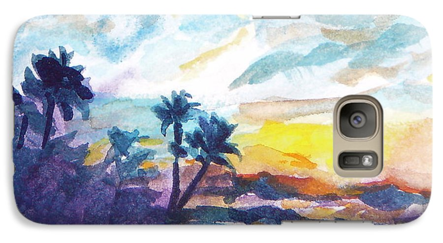 Landscape Galaxy S7 Case featuring the painting Sunset In Hawaii by Jan Bennicoff