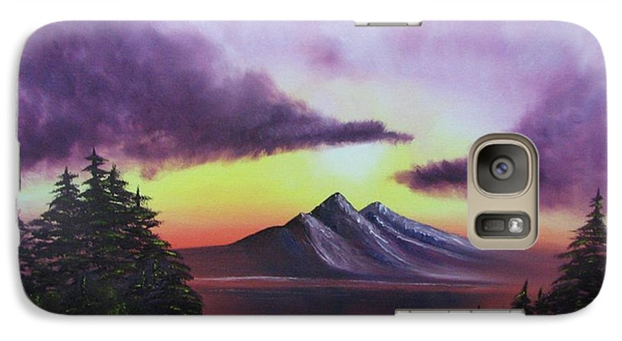 Sunset Galaxy S7 Case featuring the painting Sunset In Mountains Original Oil Painting by Natalja Picugina