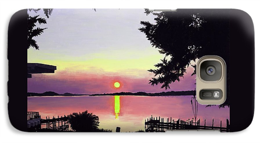 Sunset On Lake Galaxy S7 Case featuring the painting Sunset On Lake Dora by Judy Swerlick