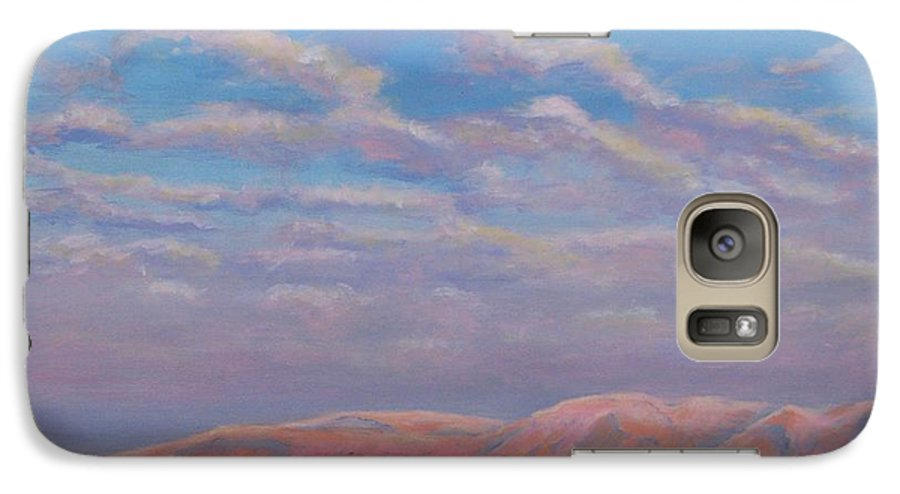 Sunset Galaxy S7 Case featuring the painting Sunset On The Dead Sea In Israel by Art Nomad Sandra Hansen