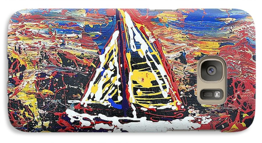 Sailboat Galaxy S7 Case featuring the painting Sunset On The Lake by J R Seymour