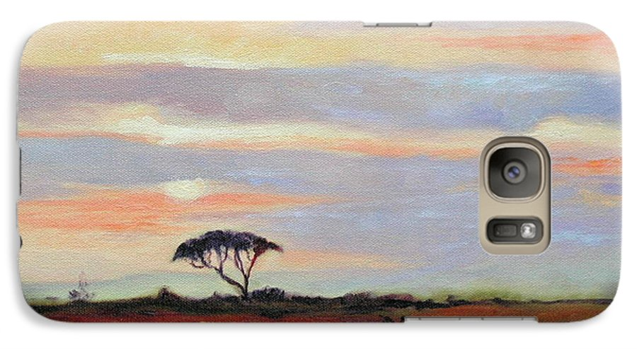 Landscape Galaxy S7 Case featuring the painting Sunset On The Serengheti by Ginger Concepcion