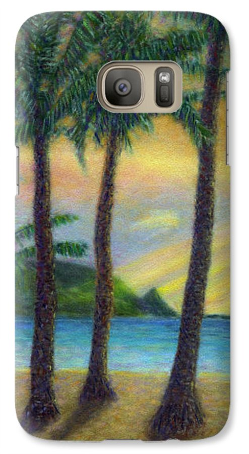 Rainbow Colors Pastel Galaxy S7 Case featuring the painting Sunset Palms by Kenneth Grzesik