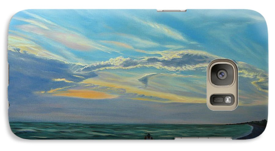 Seascape Galaxy S7 Case featuring the painting Sunset Treasure Hunt by Lea Novak