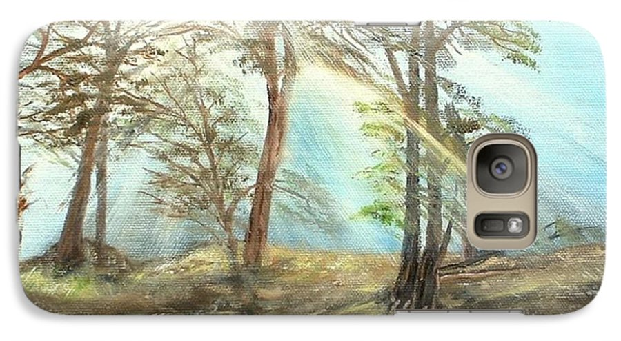 Landscape River Trees Sunshine Reflections Galaxy S7 Case featuring the painting Sunshine by Kenneth LePoidevin