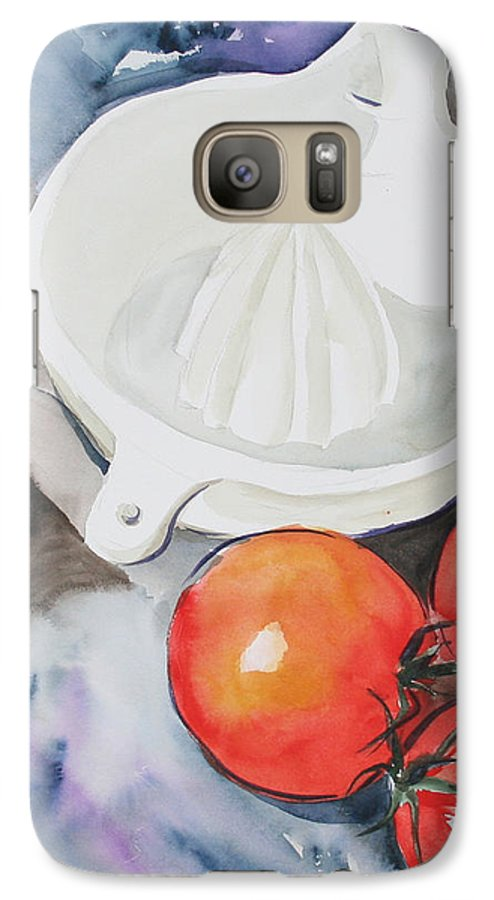 Tomatoes Galaxy S7 Case featuring the painting Sunshine On The Vine by Jean Blackmer