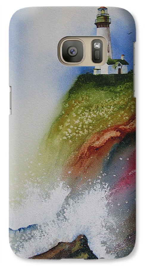 Lighthouse Galaxy S7 Case featuring the painting Surfside by Karen Stark