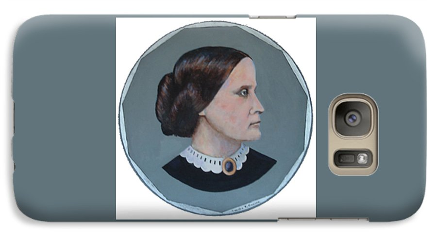 Susan B. Anthony Galaxy S7 Case featuring the painting Susan B Anthony Coin by Art Nomad Sandra Hansen