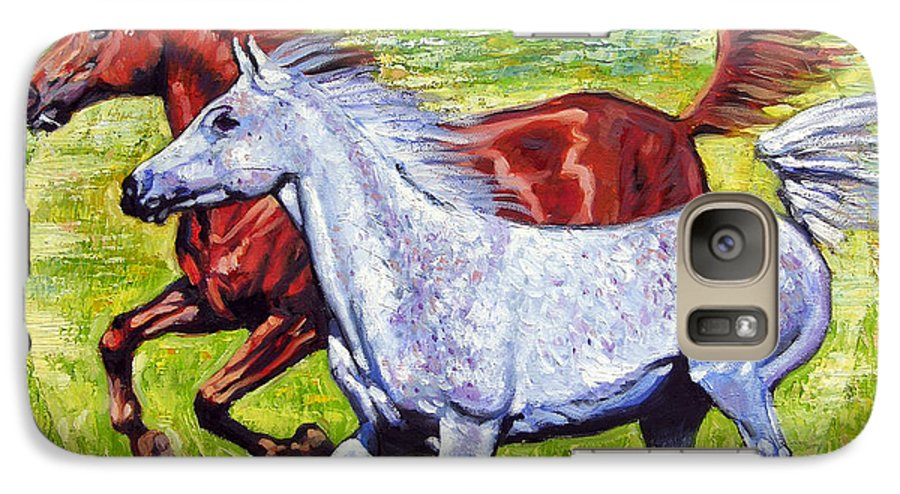 Horses Running Galaxy S7 Case featuring the painting Sweet Harmony by John Lautermilch