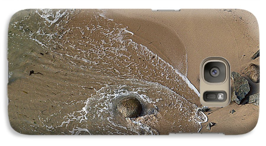 Big Sur Galaxy S7 Case featuring the photograph Swirling Surf And Rocks by Charlene Mitchell